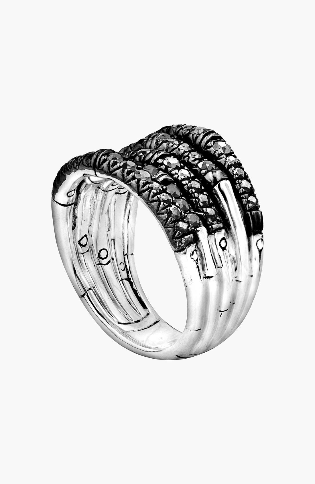 'Bamboo - Lava' Wide Pavé Sapphire Stack Ring,                         Main,                         color, Silver/ Black Sapphire