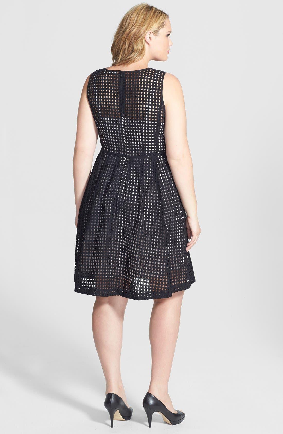 Alternate Image 2  - Halogen® 'Prism' Eyelet Cotton Fit & Flare Dress (Plus Size)