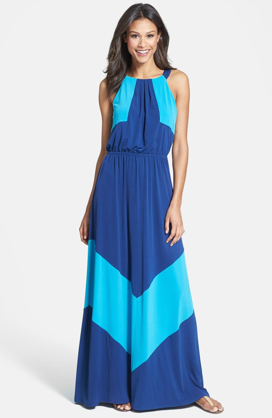 Main Image - Vince Camuto Colorblock Stretch Jersey Maxi Dress