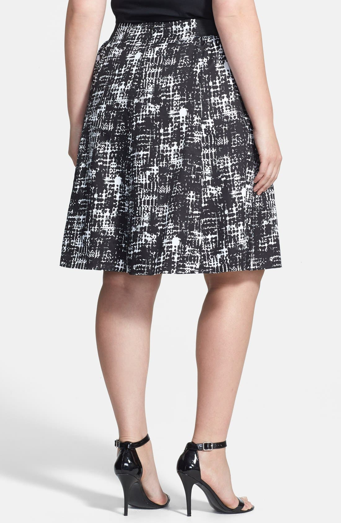 Alternate Image 2  - Sejour Printed Cotton Sateen A-Line Skirt (Plus Size)