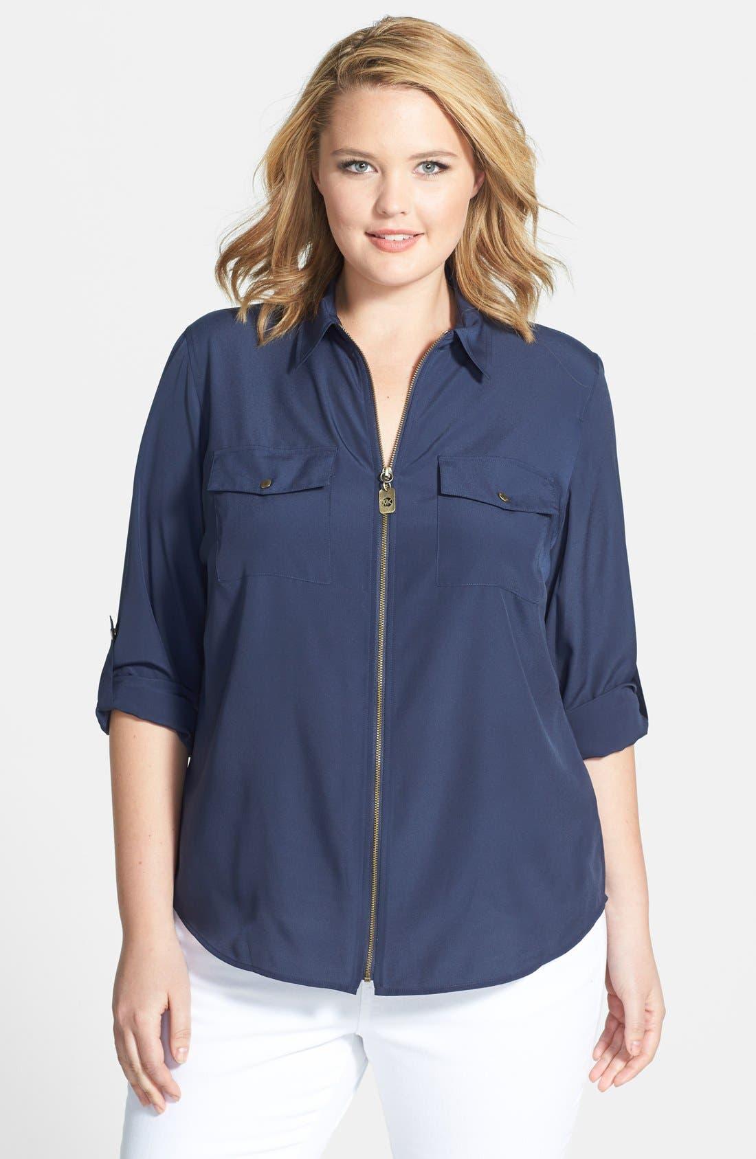 Alternate Image 1 Selected - MICHAEL Michael Kors Zip Campshirt (Plus Size)