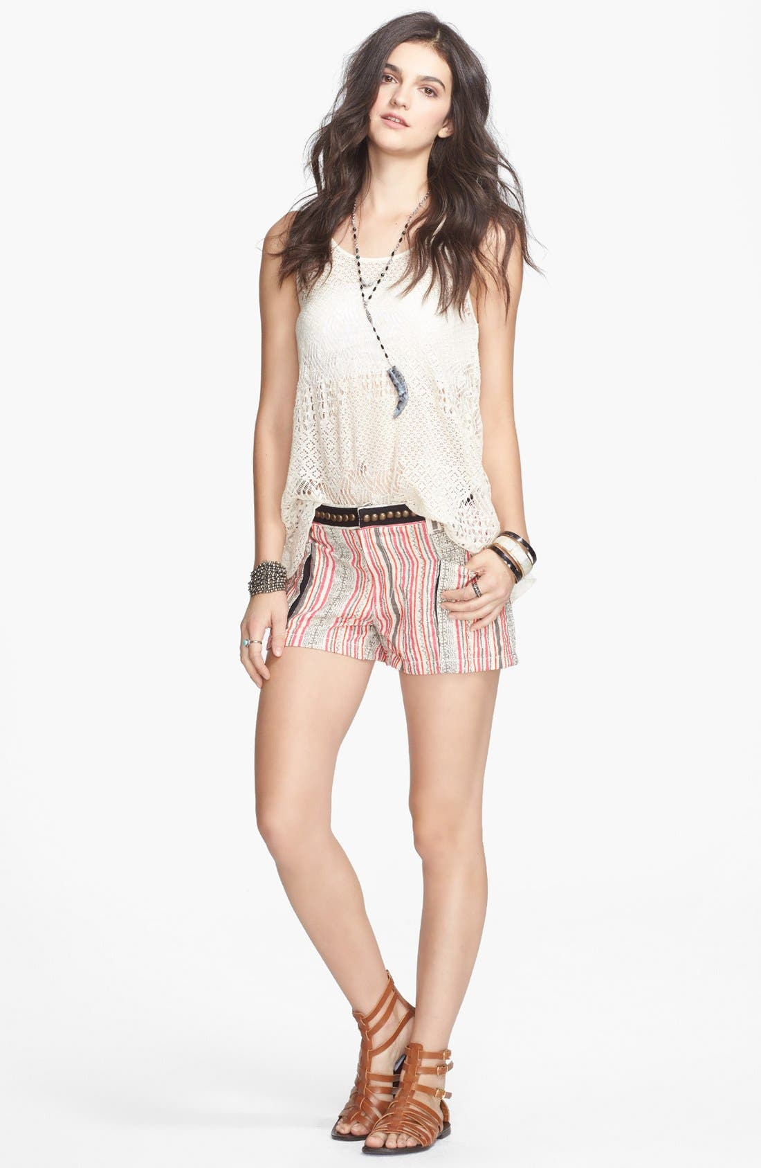 Alternate Image 1 Selected - Free People 'Lolas' Lace-Up Mixed Knit Tank
