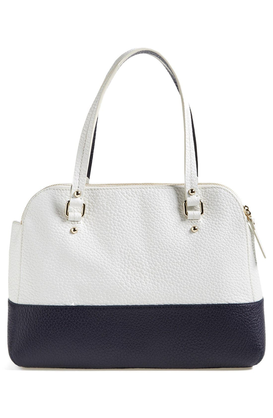 'grove court - lainey' leather tote,                             Alternate thumbnail 4, color,                             Fresh White/ Midnight