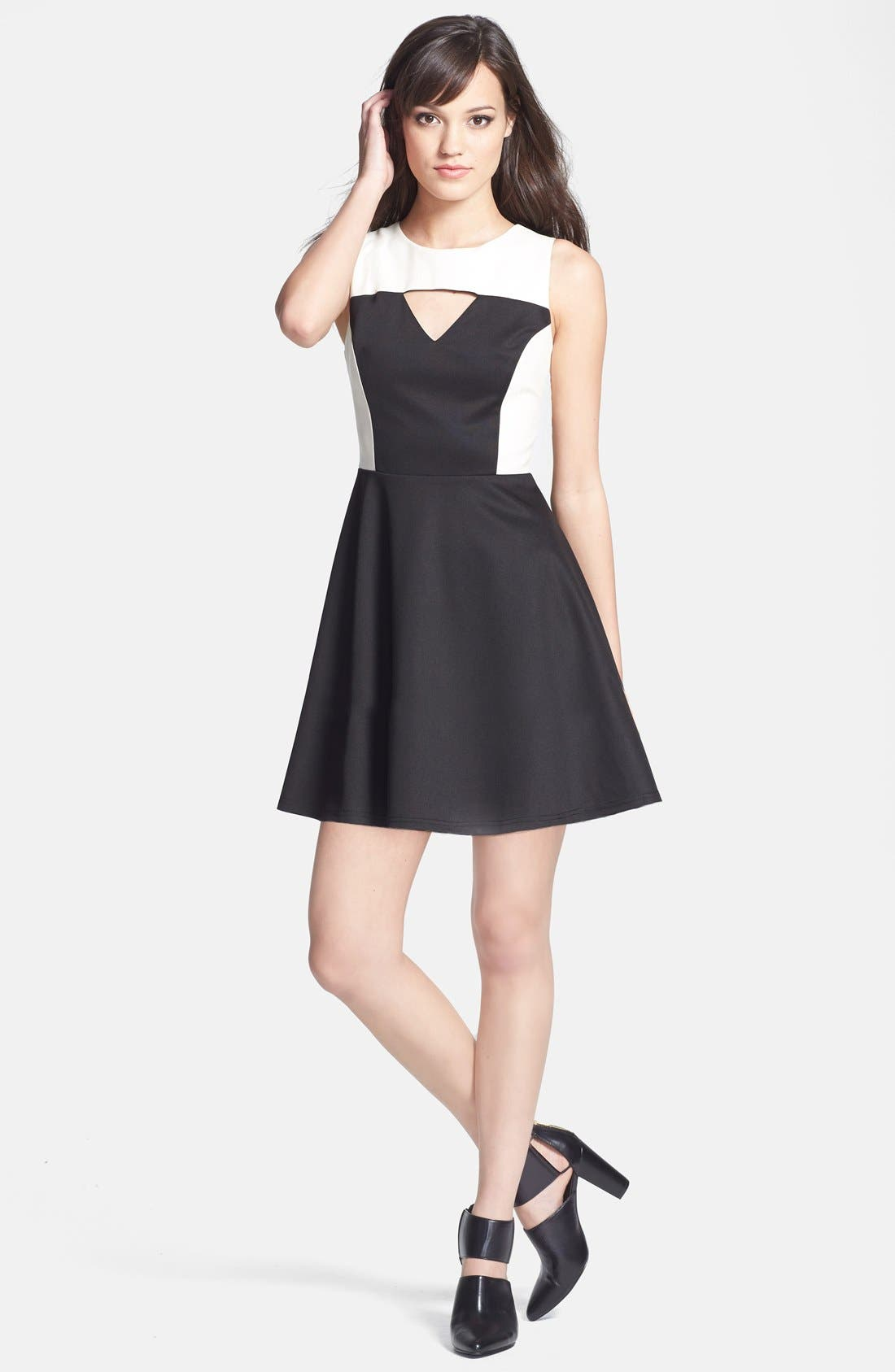 Alternate Image 3  - MM Couture Cutout Faux Leather Contrast Ponte Knit Fit & Flare Dress