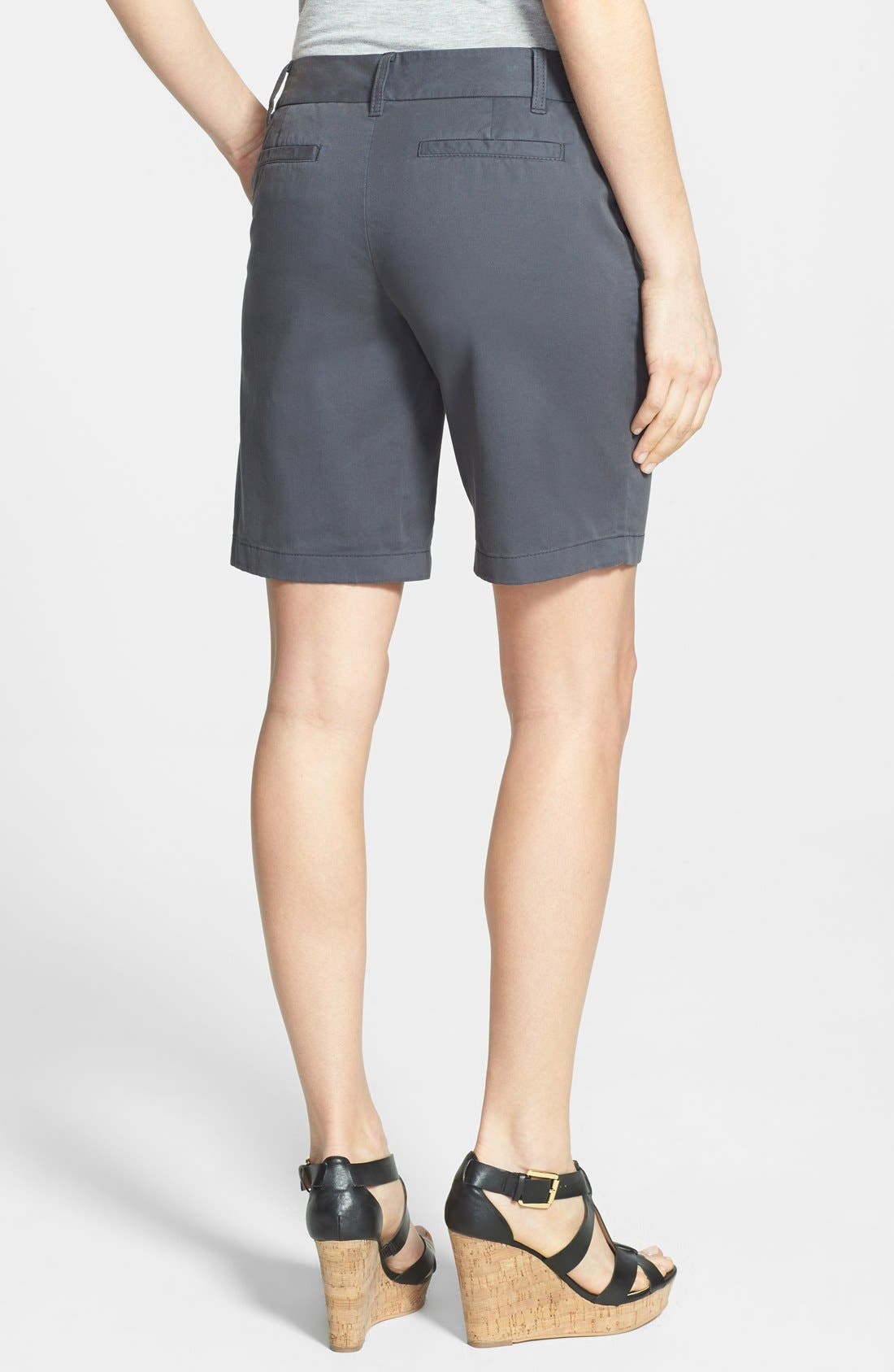 Alternate Image 2  - Caslon® Clean Front Nine-Inch Shorts (Regular & Petite)