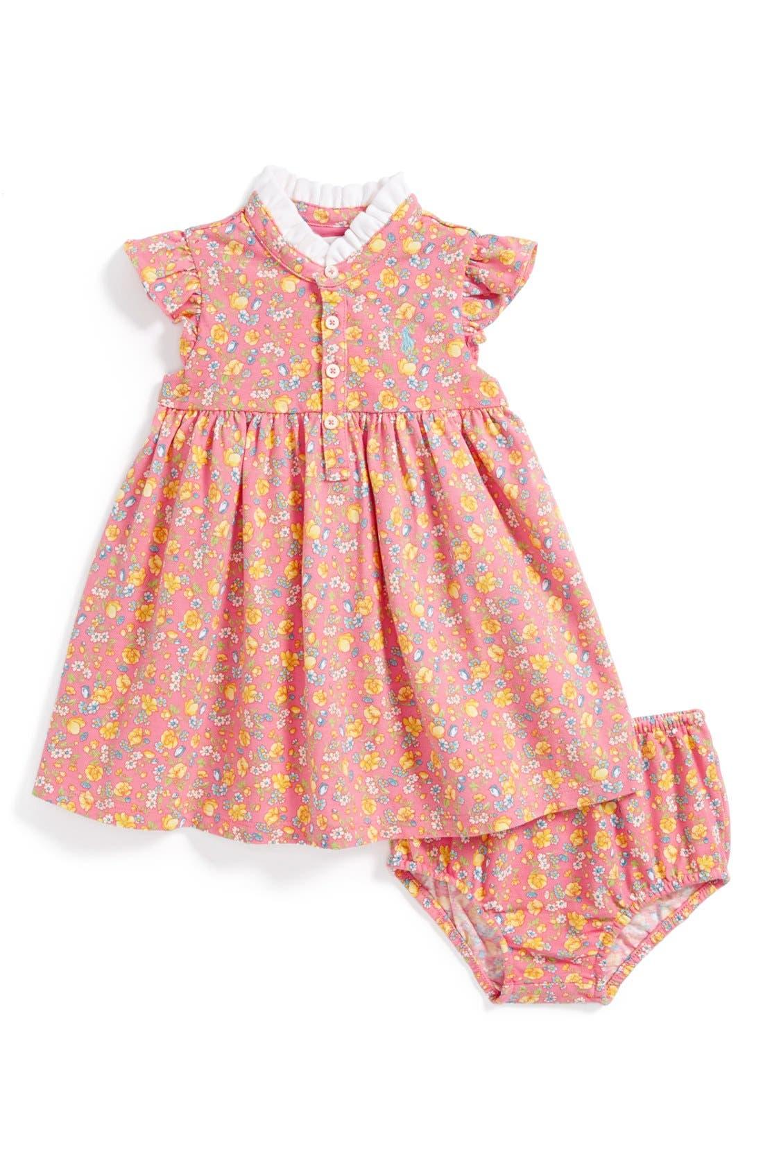 Main Image - Ralph Lauren Floral Print Dress & Bloomers (Baby Girls)