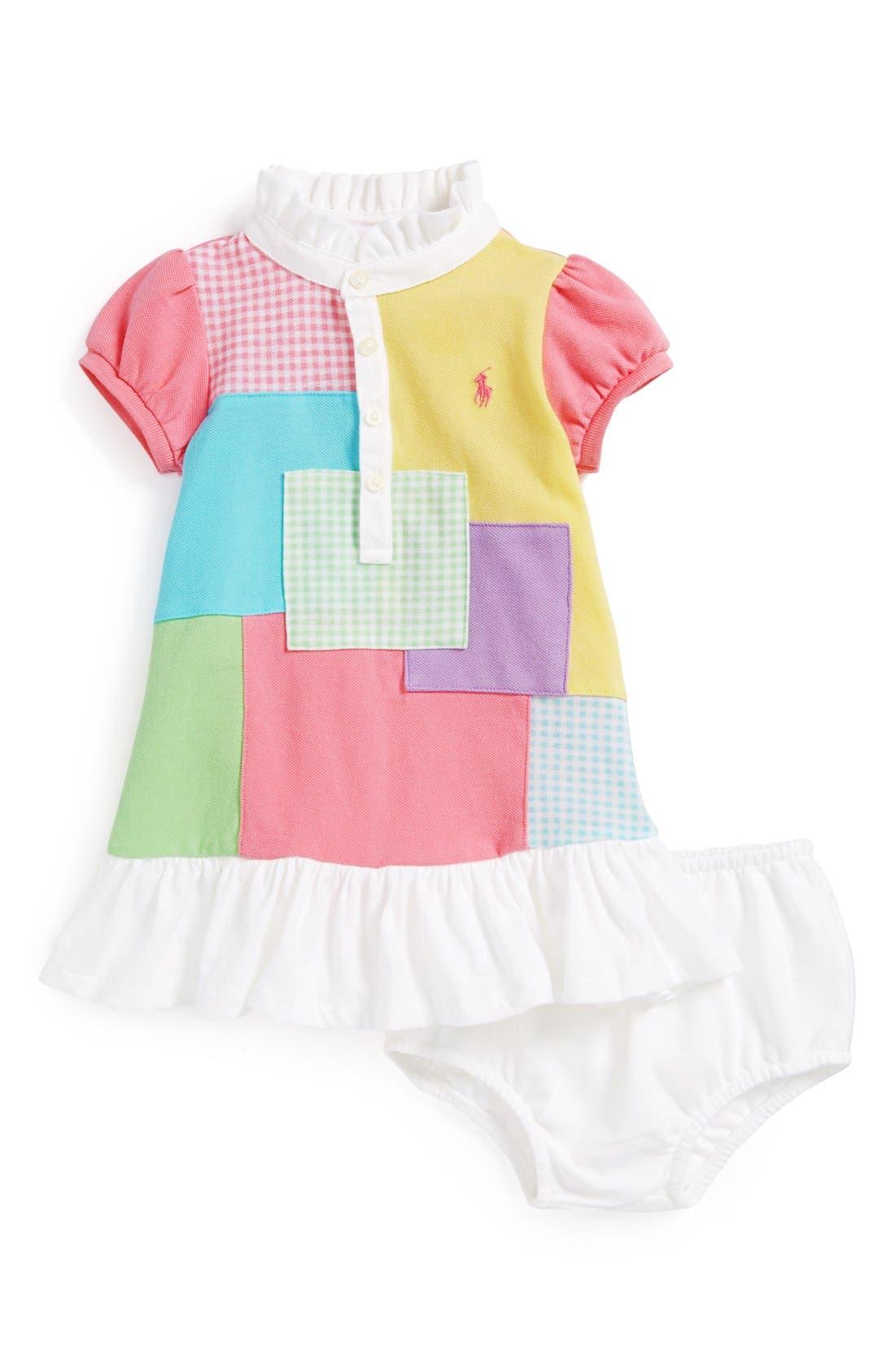 Main Image - Ralph Lauren Patchwork Dress & Bloomers (Baby Girls)