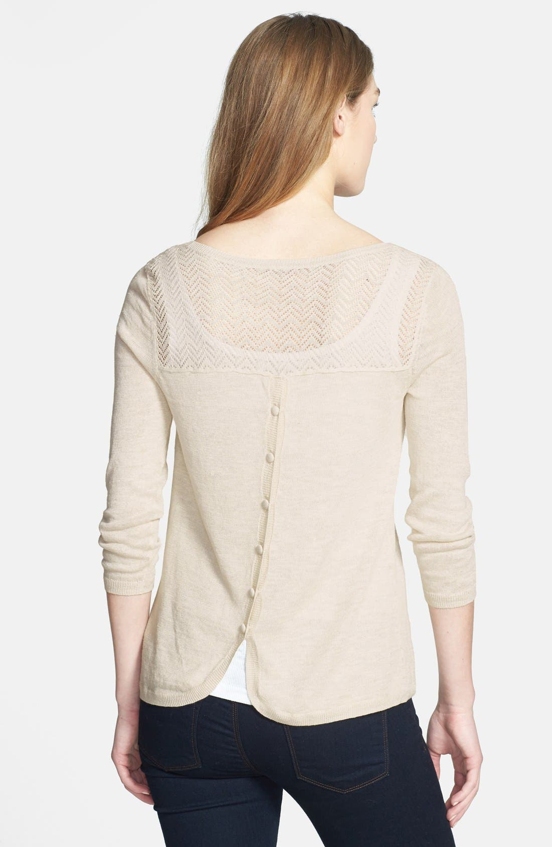 Alternate Image 2  - Lucky Brand 'Marina' Pointelle Button Back Linen Blend Sweater