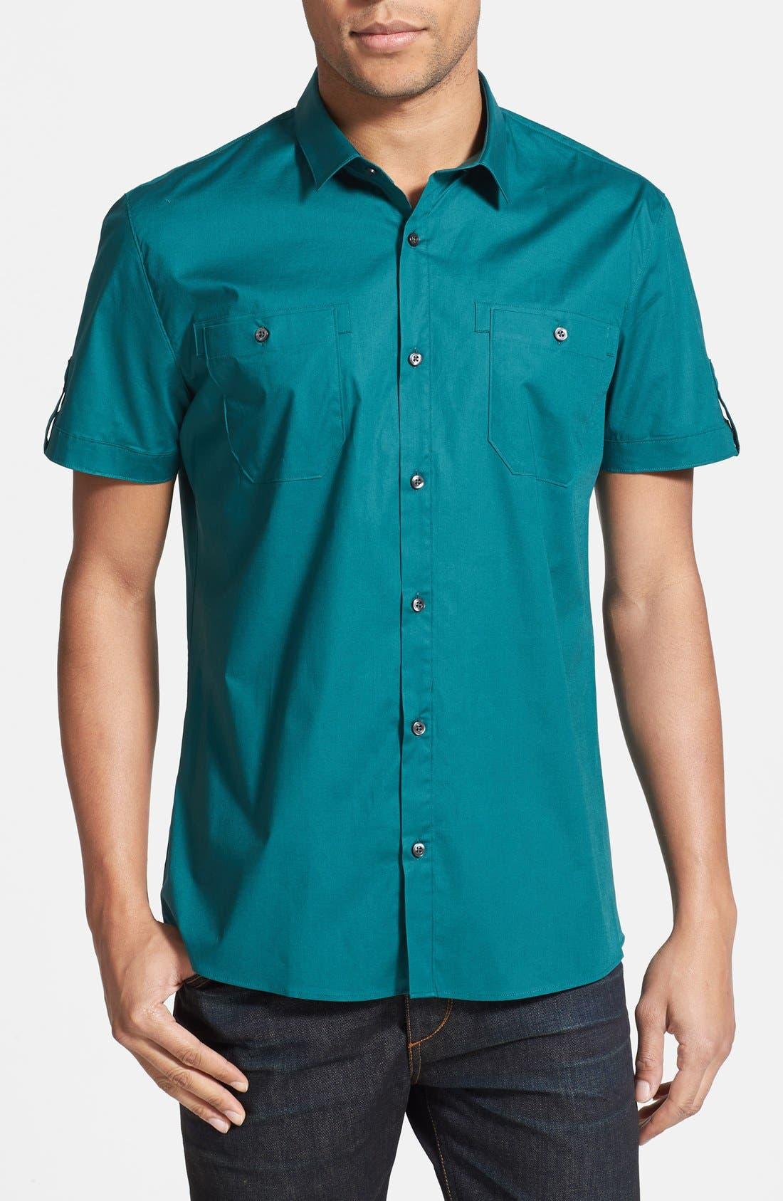 Main Image - HUGO Slim Fit Short Sleeve Woven Sport Shirt