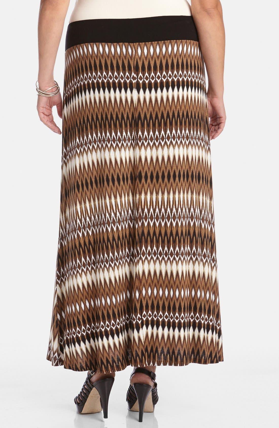 Alternate Image 2  - Karen Kane Print Maxi Skirt (Plus Size)
