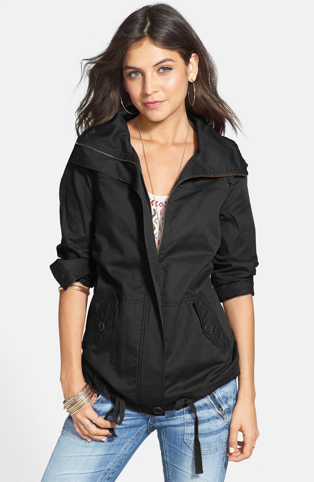 Drawstring Waist Twill Jacket,                             Main thumbnail 1, color,                             Black