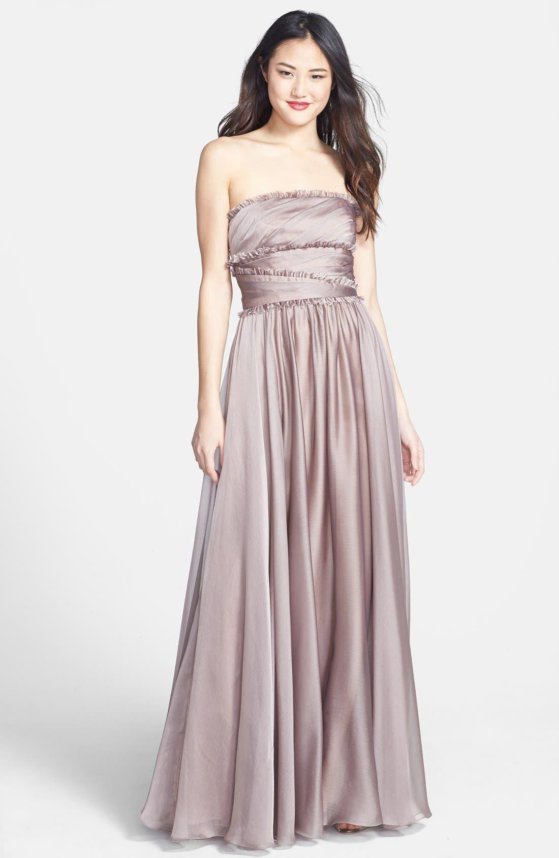 ML Monique Lhuillier Bridesmaids Strapless Chiffon Gown,                         Main,                         color, Taupe
