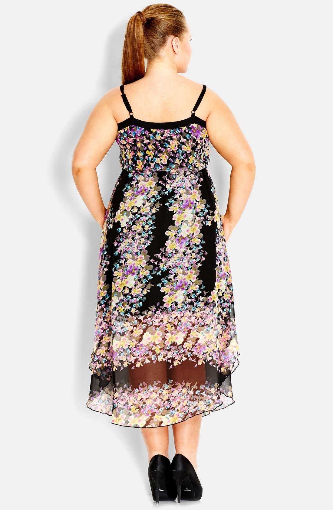 Alternate Image 2  - City Chic Floral Chiffon Maxi Dress (Plus Size)