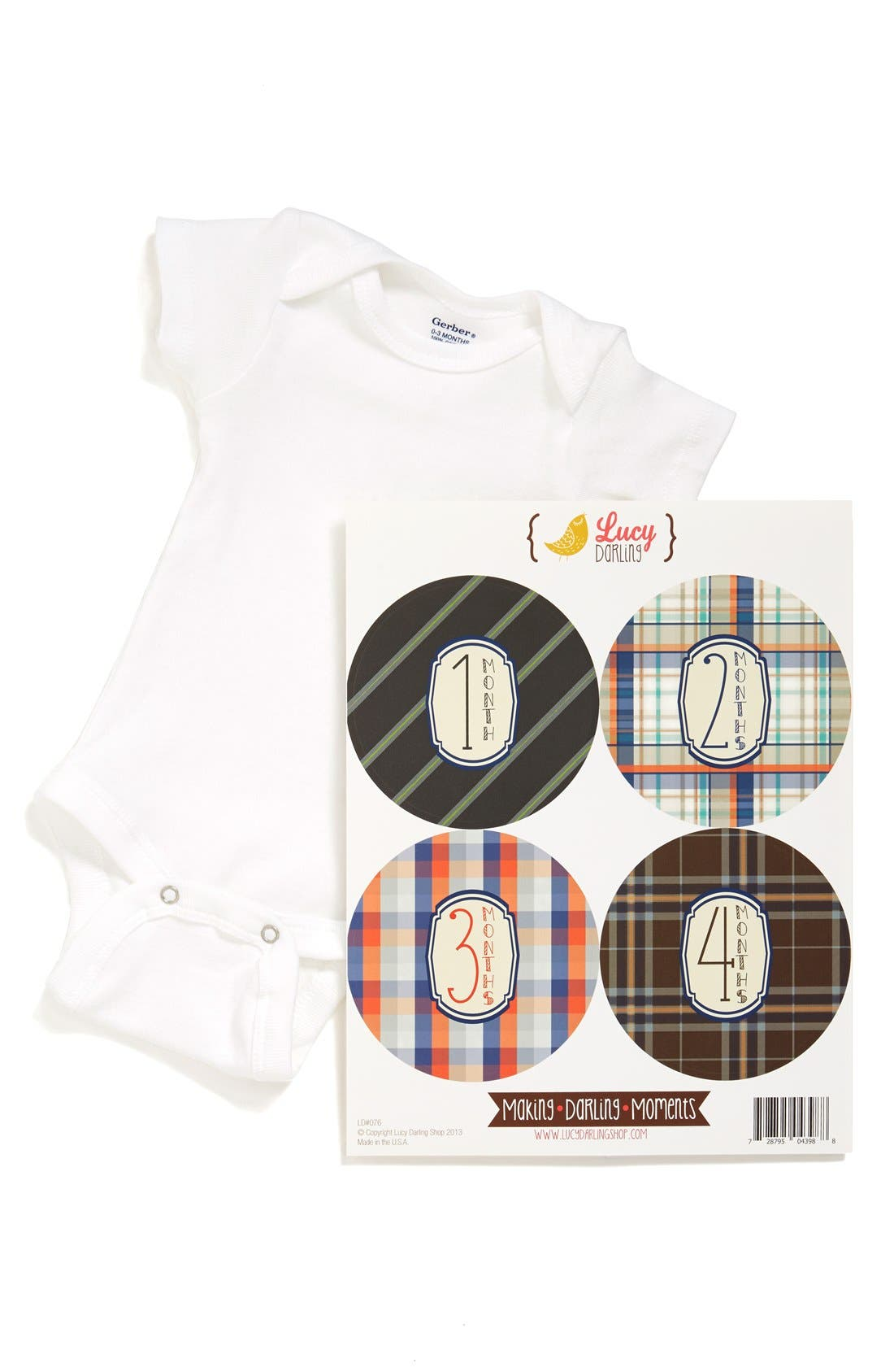 Alternate Image 1 Selected - Lucy Darling Bodysuit & Stickers (Baby Boys)