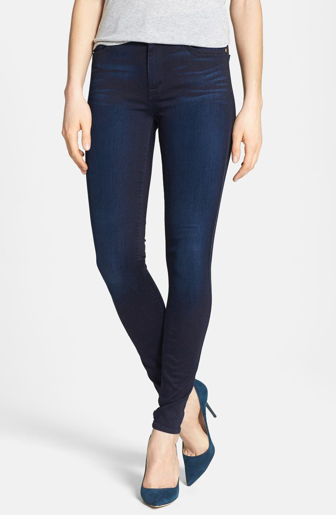 Main Image - 7 For All Mankind® High Rise Skinny Jeans (Blue Black Sateen)