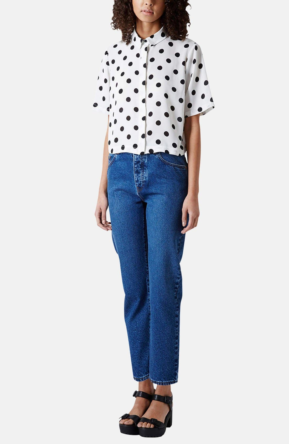 Alternate Image 5  - Topshop Moto Girlfriend Jeans (Blue)