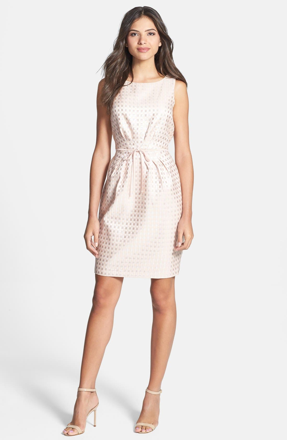 Alternate Image 3  - Gabby Skye Bow Waist Jacquard Sheath Dress