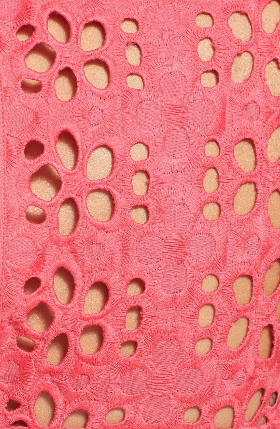 Alternate Image 4  - Eliza J Cotton Eyelet Belted Fit & Flare Dress (Regular & Petite)