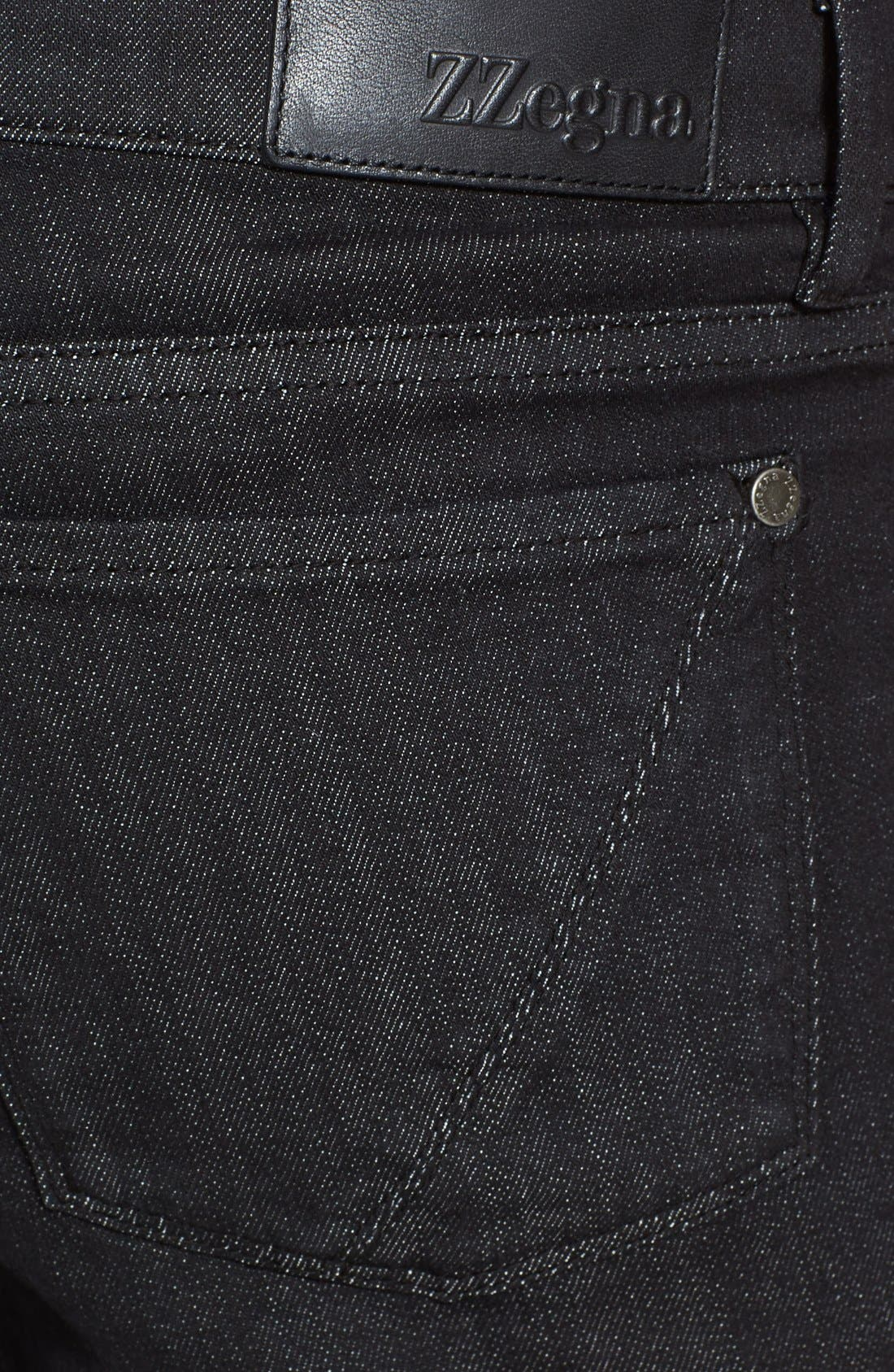 Alternate Image 4  - Z Zegna Slim Straight Leg Jeans (Black Solid)