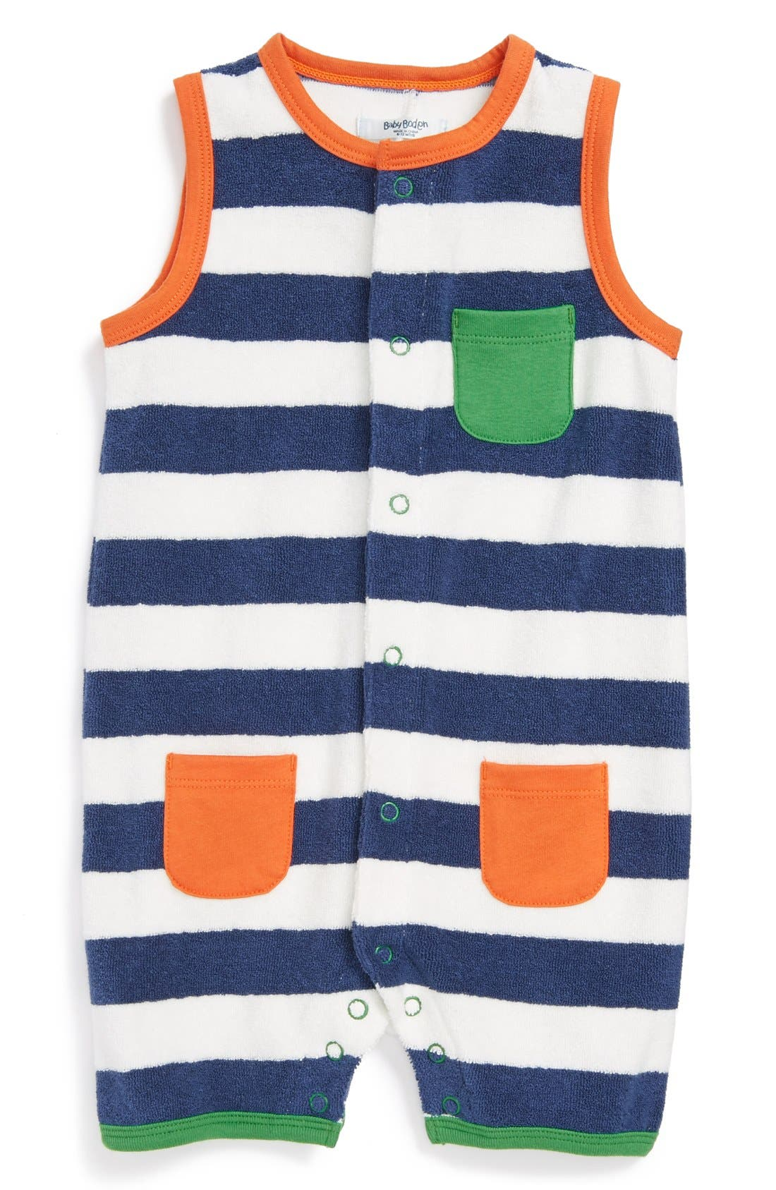 Main Image - Mini Boden Terry Cloth Romper (Baby)
