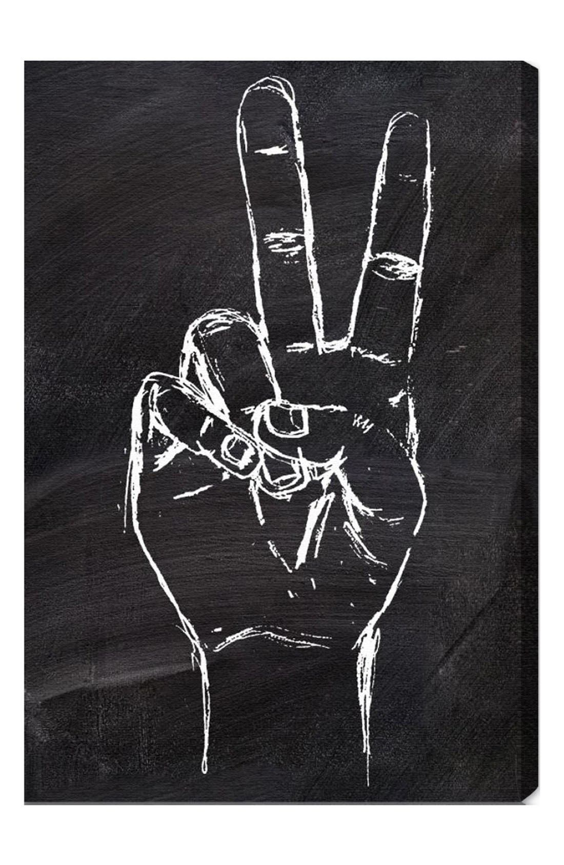 'Peace Out' Wall Art,                             Main thumbnail 1, color,                             Grey