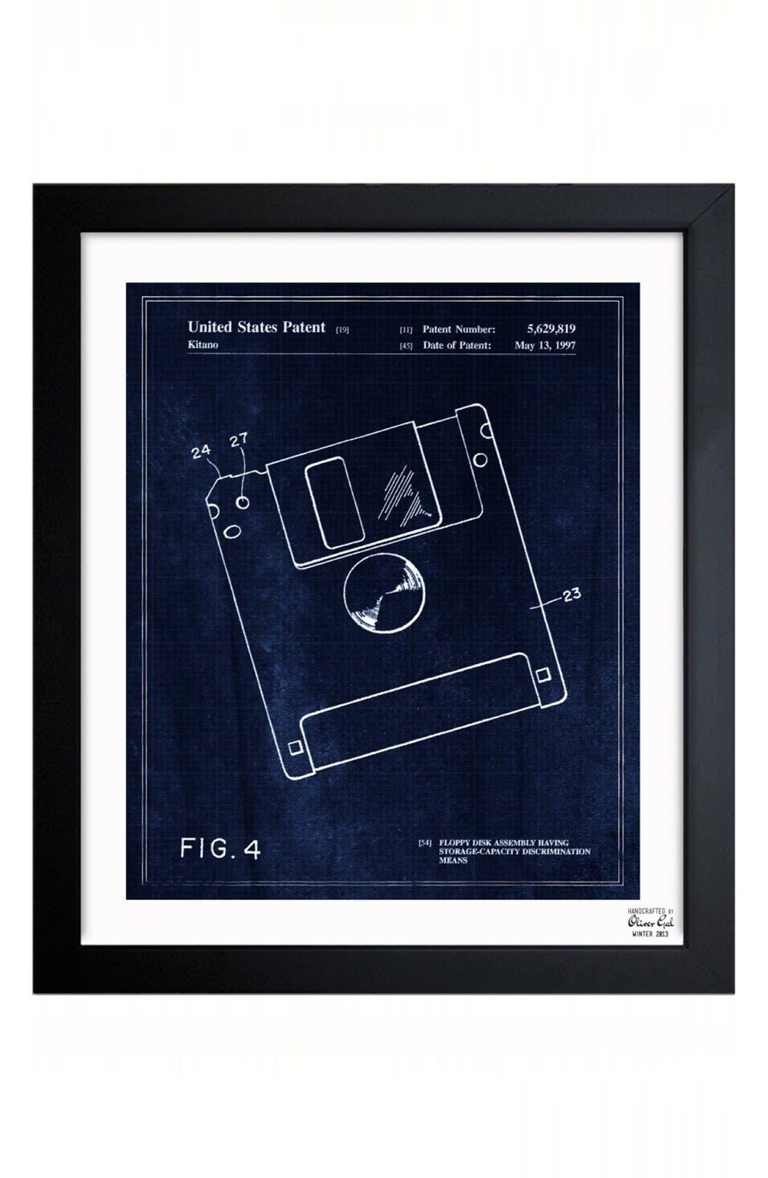 'Floppy Disc Blueprint' Framed Print,                         Main,                         color, Blue