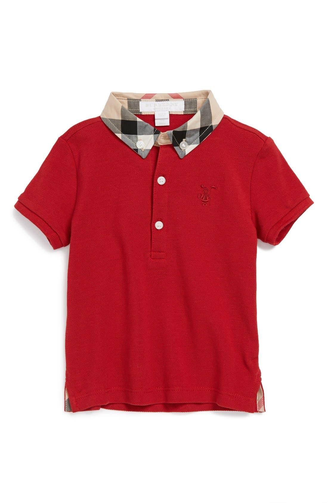 Main Image - Burberry 'William' Cotton Polo (Baby Boys)