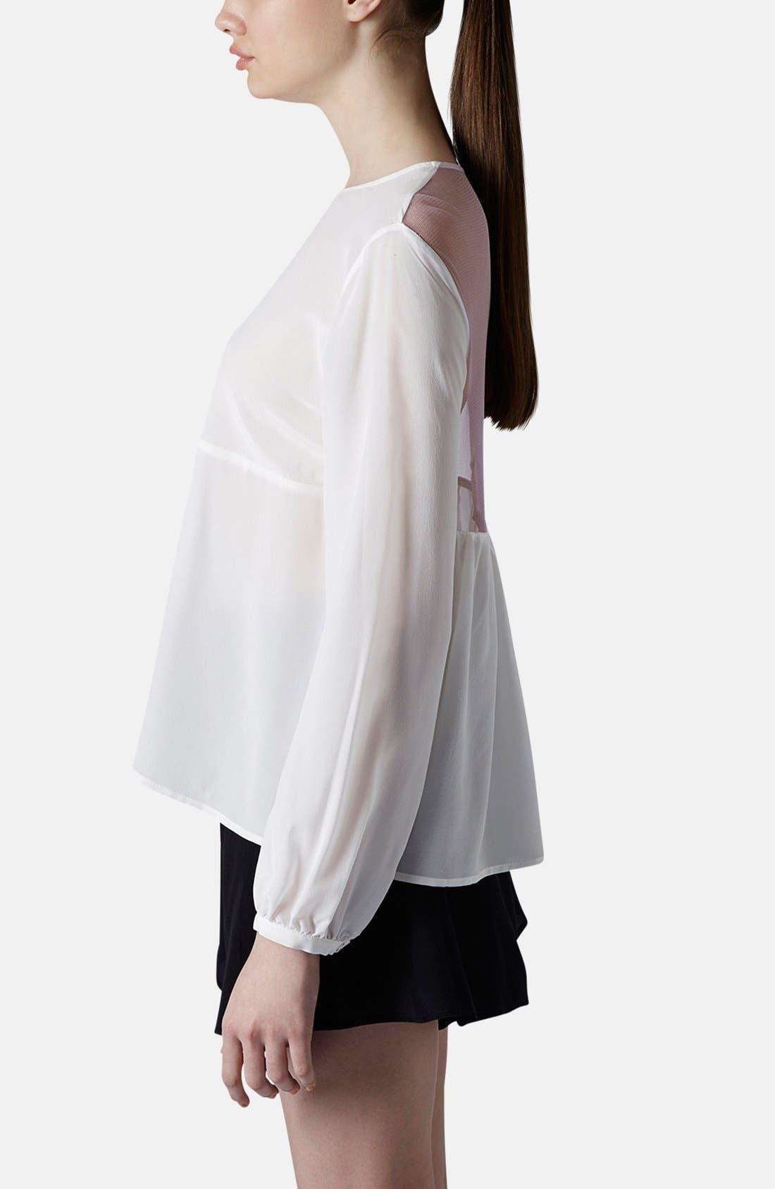 Alternate Image 5  - Topshop Boutique Tulle Back Silk Blouse