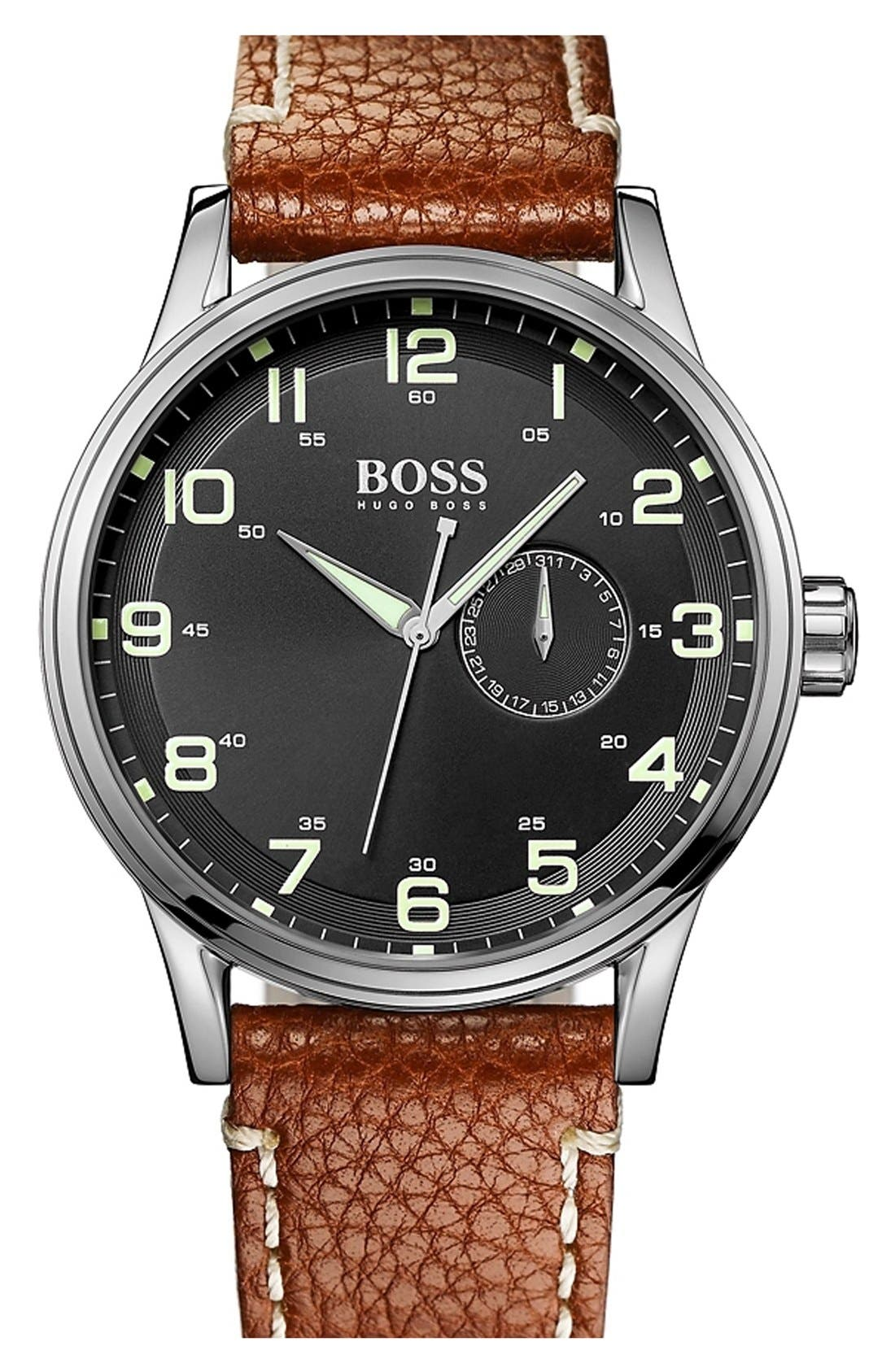 Main Image - BOSS Round Leather Strap Watch, 44mm