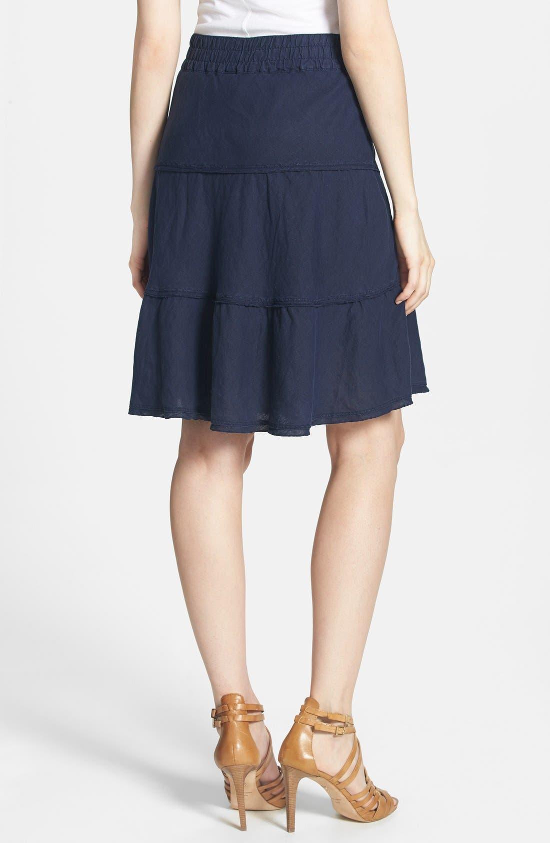 Alternate Image 2  - Caslon® Drawstring Waist Tiered Linen Skirt (Regular & Petite)
