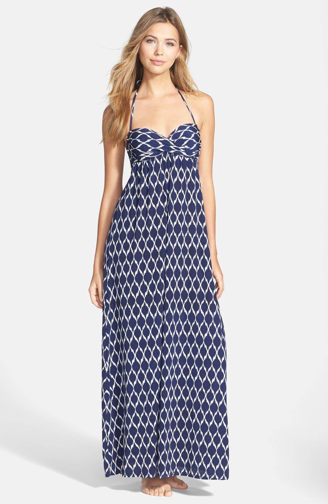 Main Image - Robin Piccone Ikat Print Halter Cover-Up Dress