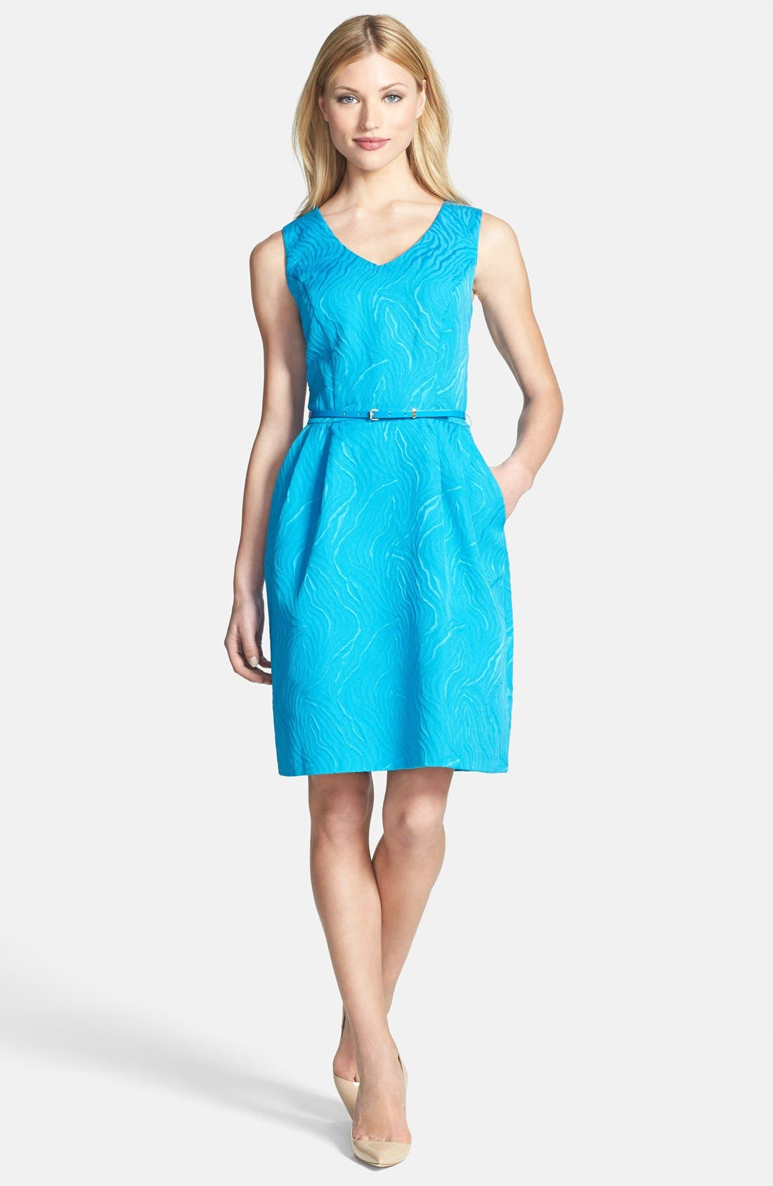Main Image - Ellen Tracy Cutout Back Jacquard Fit & Flare Dress