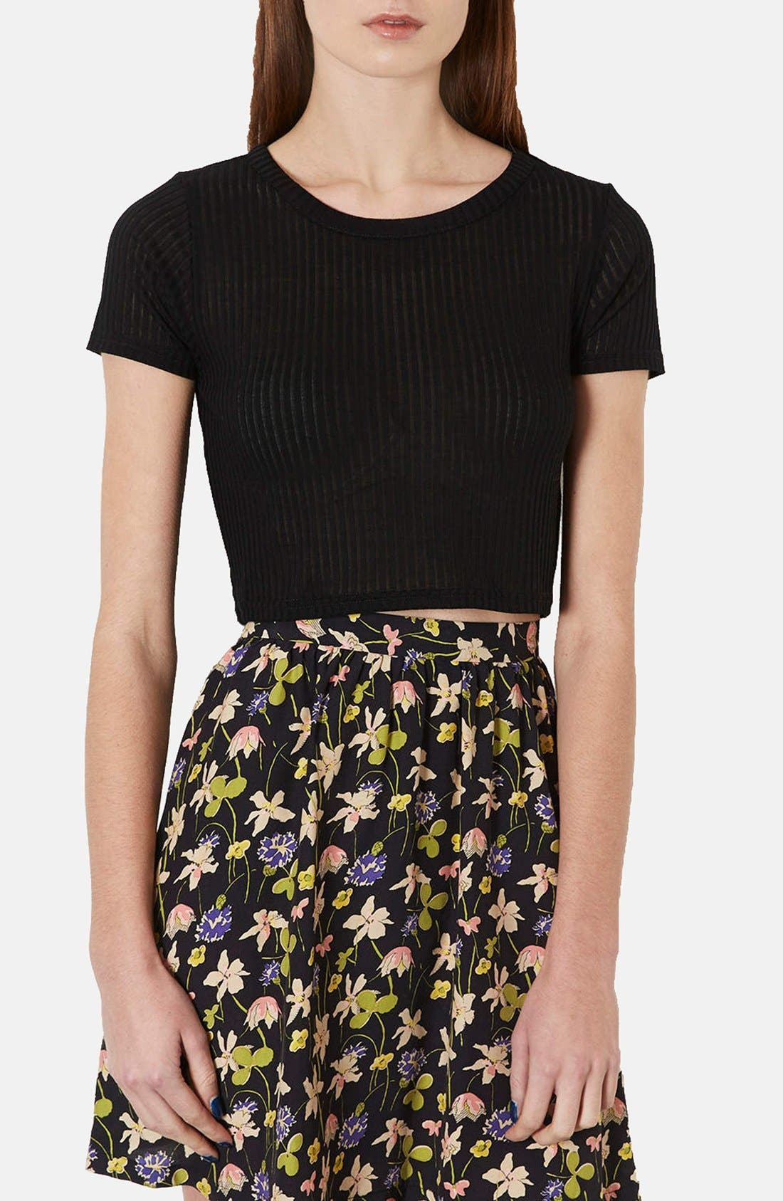 Alternate Image 1 Selected - Topshop Ribbed Crop Tee