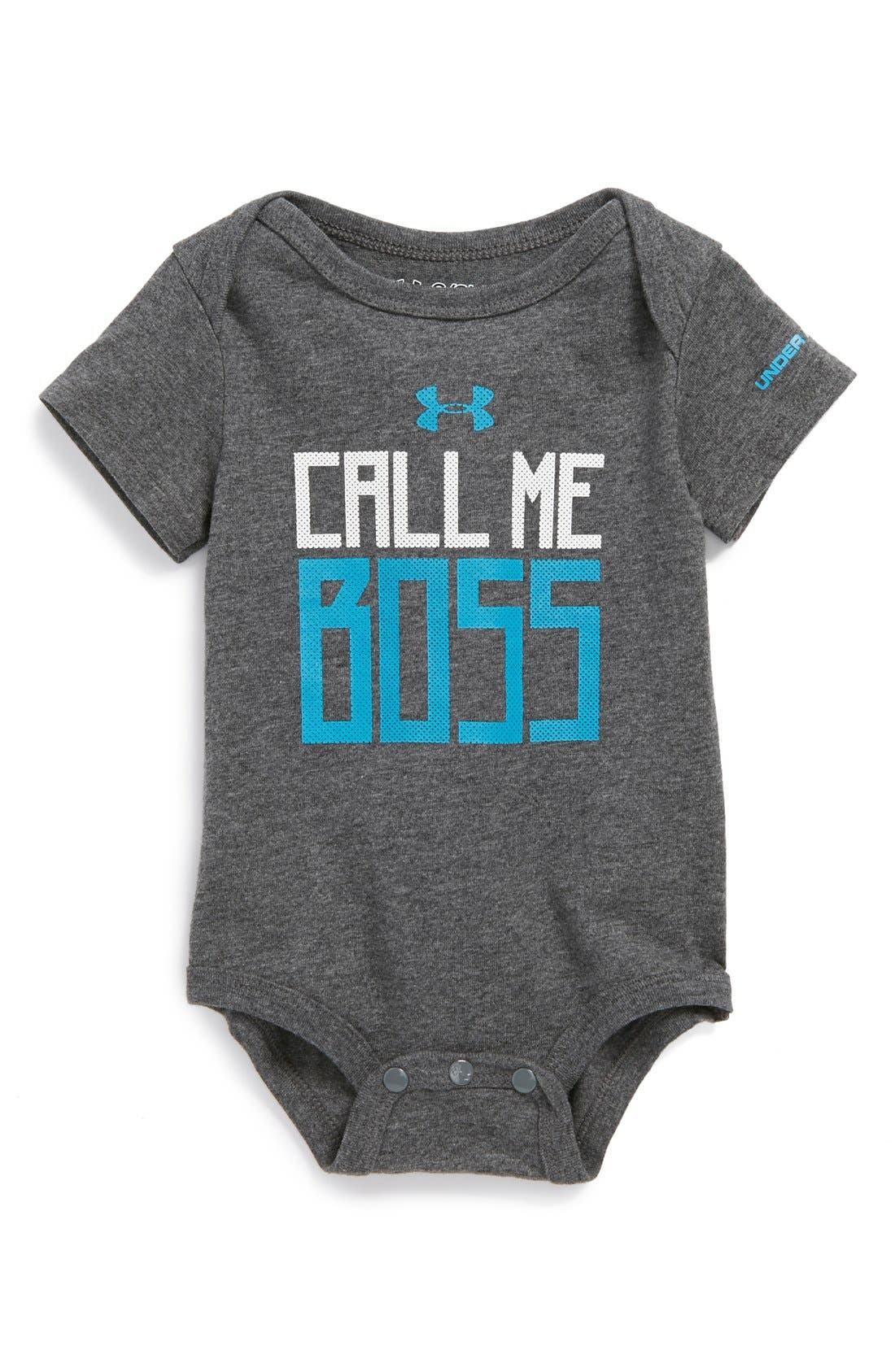 Main Image - Under Armour 'Call Me Boss' HeatGear® Bodysuit (Baby Boys)