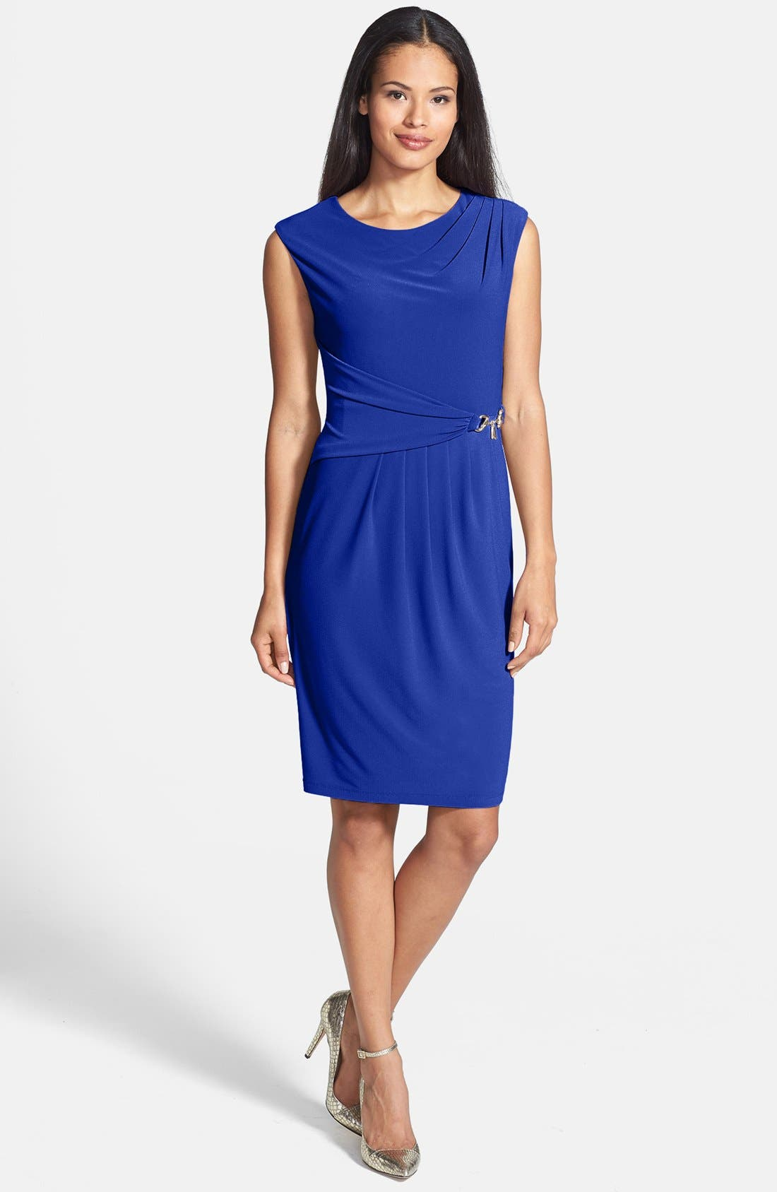 Alternate Image 1 Selected - Ellen Tracy Side Gathered Crepe Sheath Dress