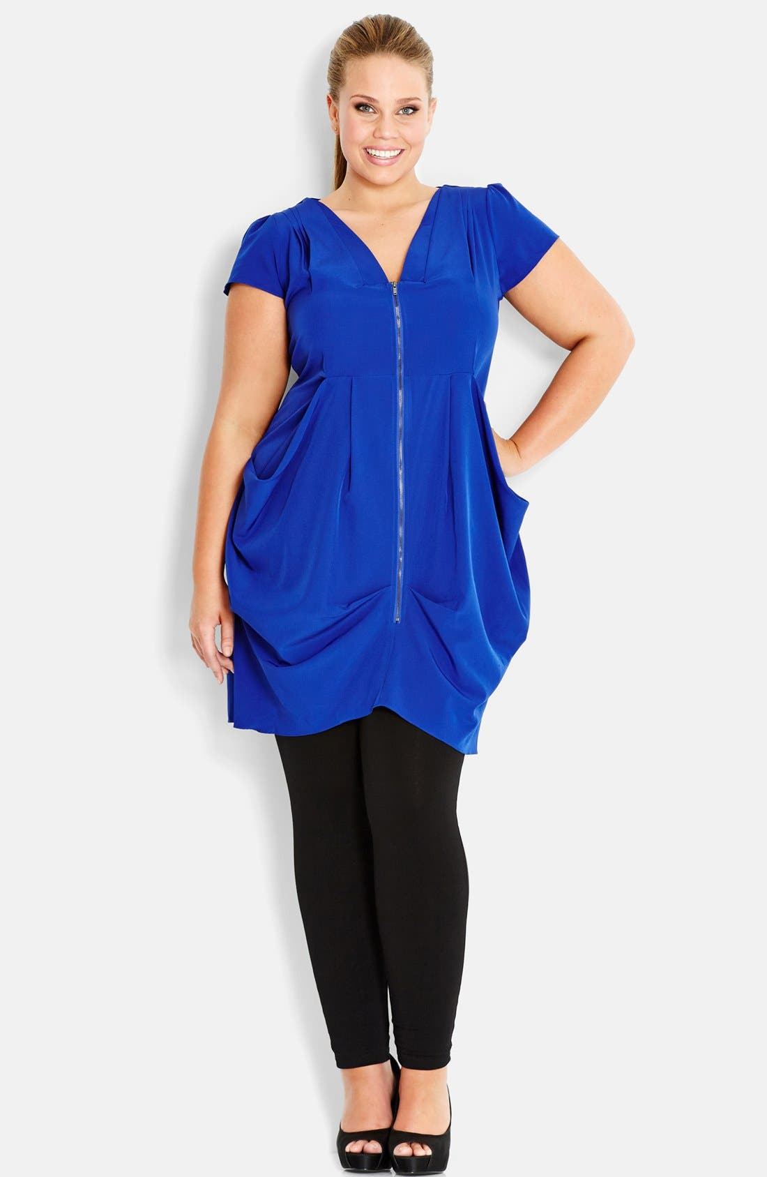 Front Zip Pleat Tunic,                             Main thumbnail 1, color,                             Imperial