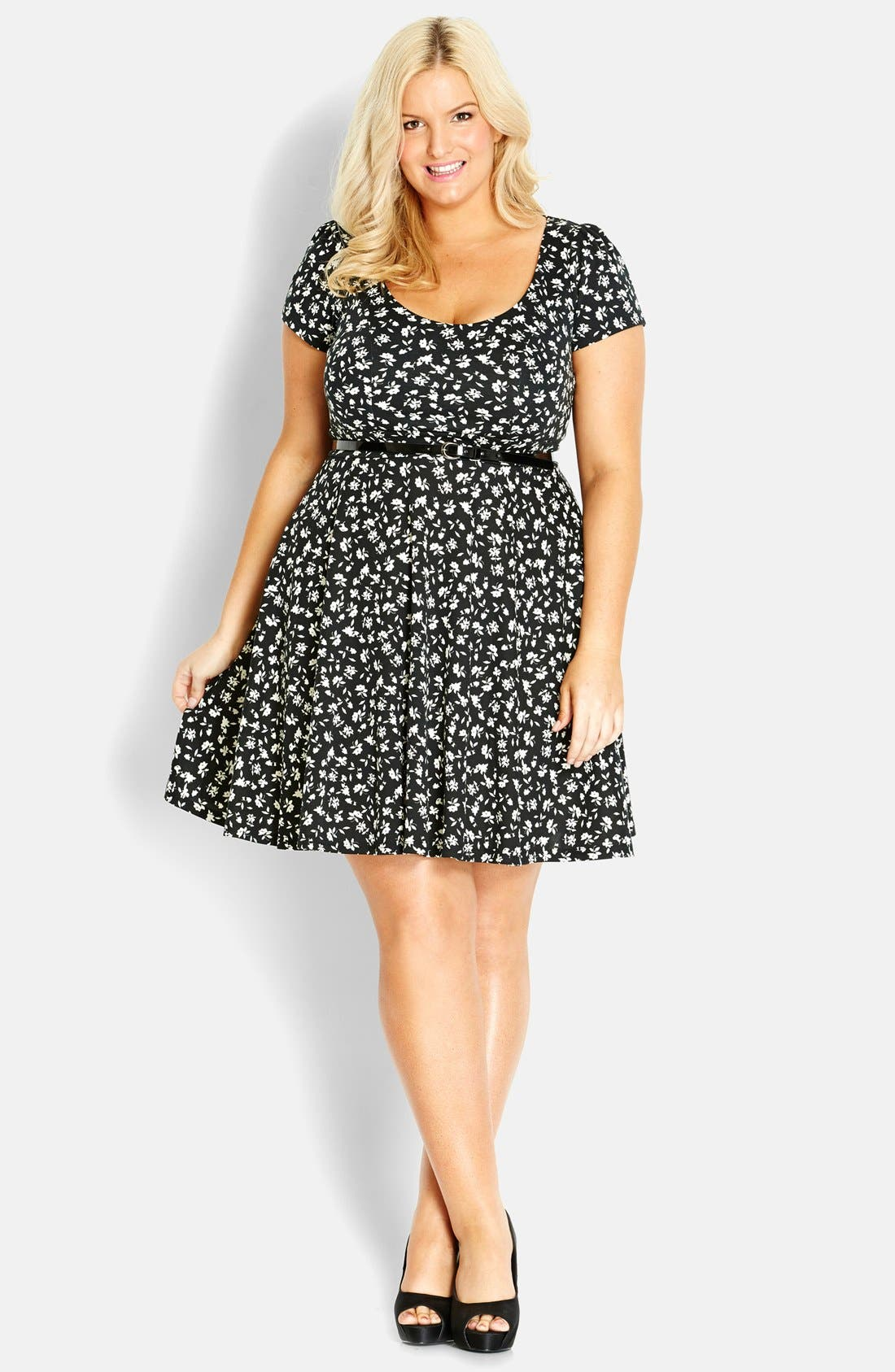 Main Image - City Chic 'Surprise Back' Floral Swing Dress (Plus Size)