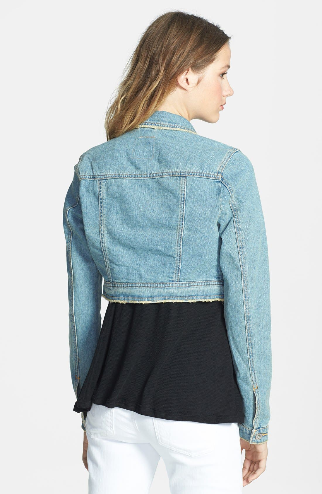 Alternate Image 2  - Free People Distressed Denim Crop Jacket