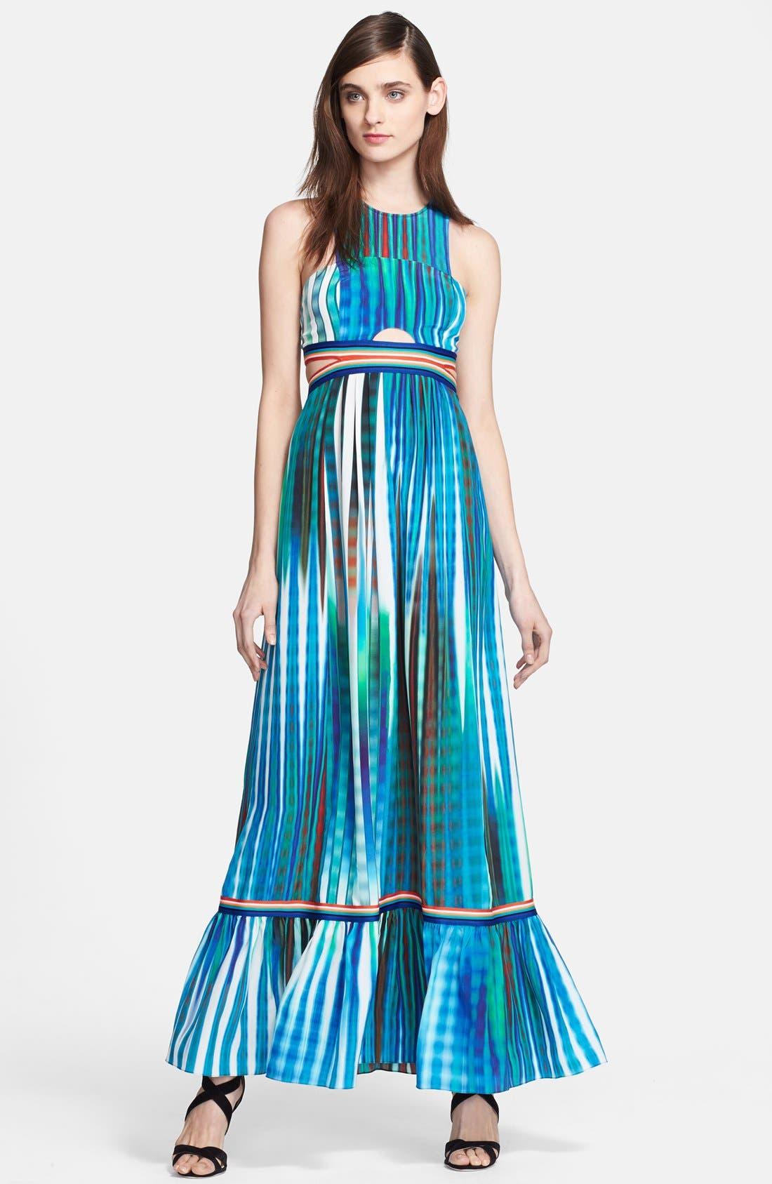 Main Image - Tracy Reese Cutout Print Silk Maxi Dress