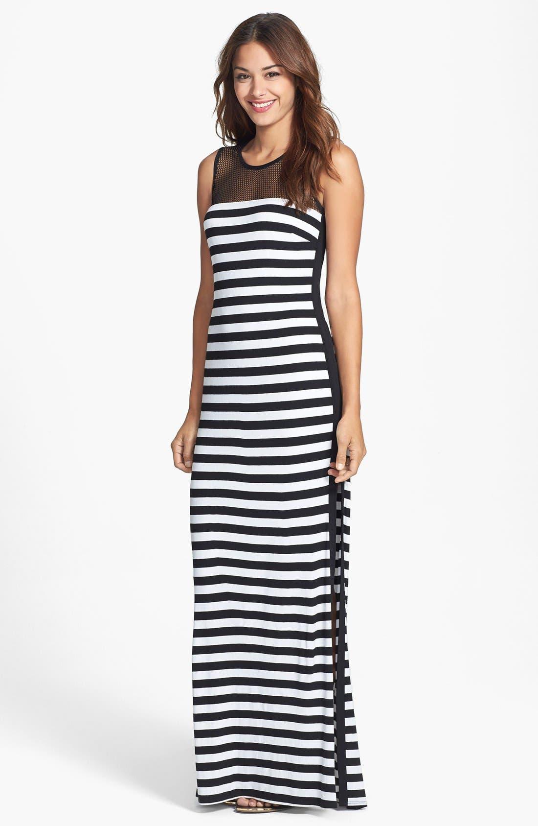 Main Image - Laundry by Shelli Segal Stripe Mesh & Jersey Maxi Dress