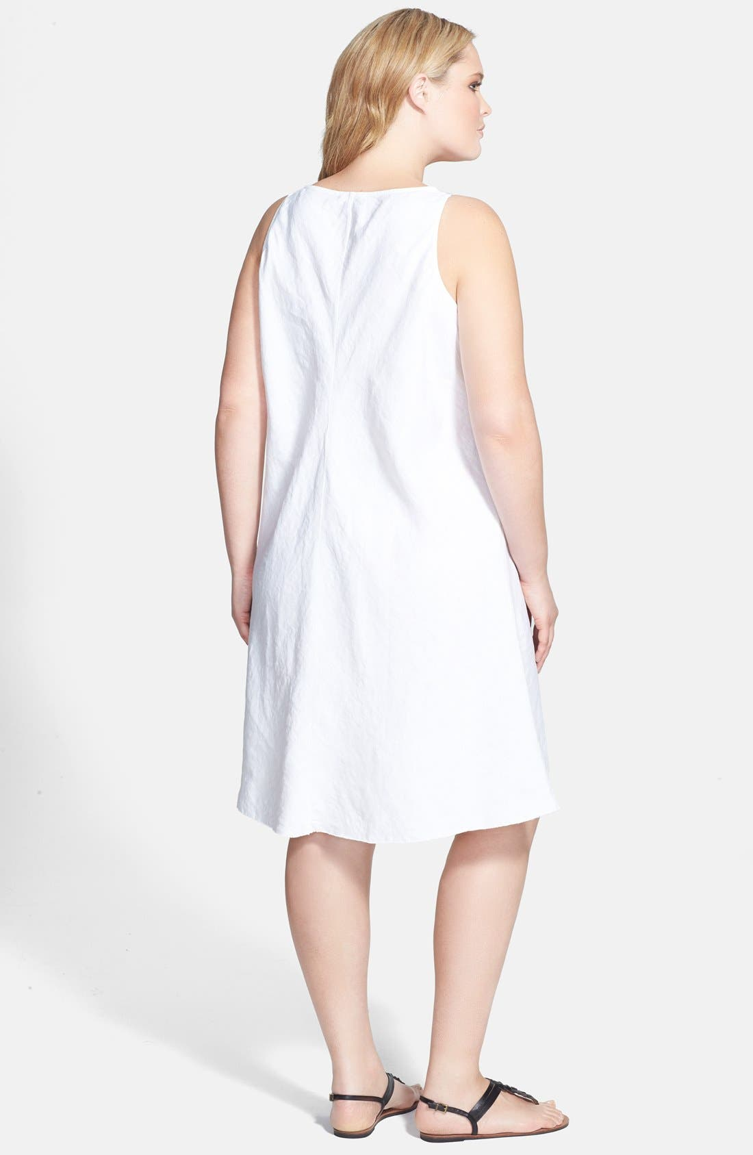 Alternate Image 2  - Eileen Fisher V-Neck Bias Cut Organic Linen Dress (Plus Size)