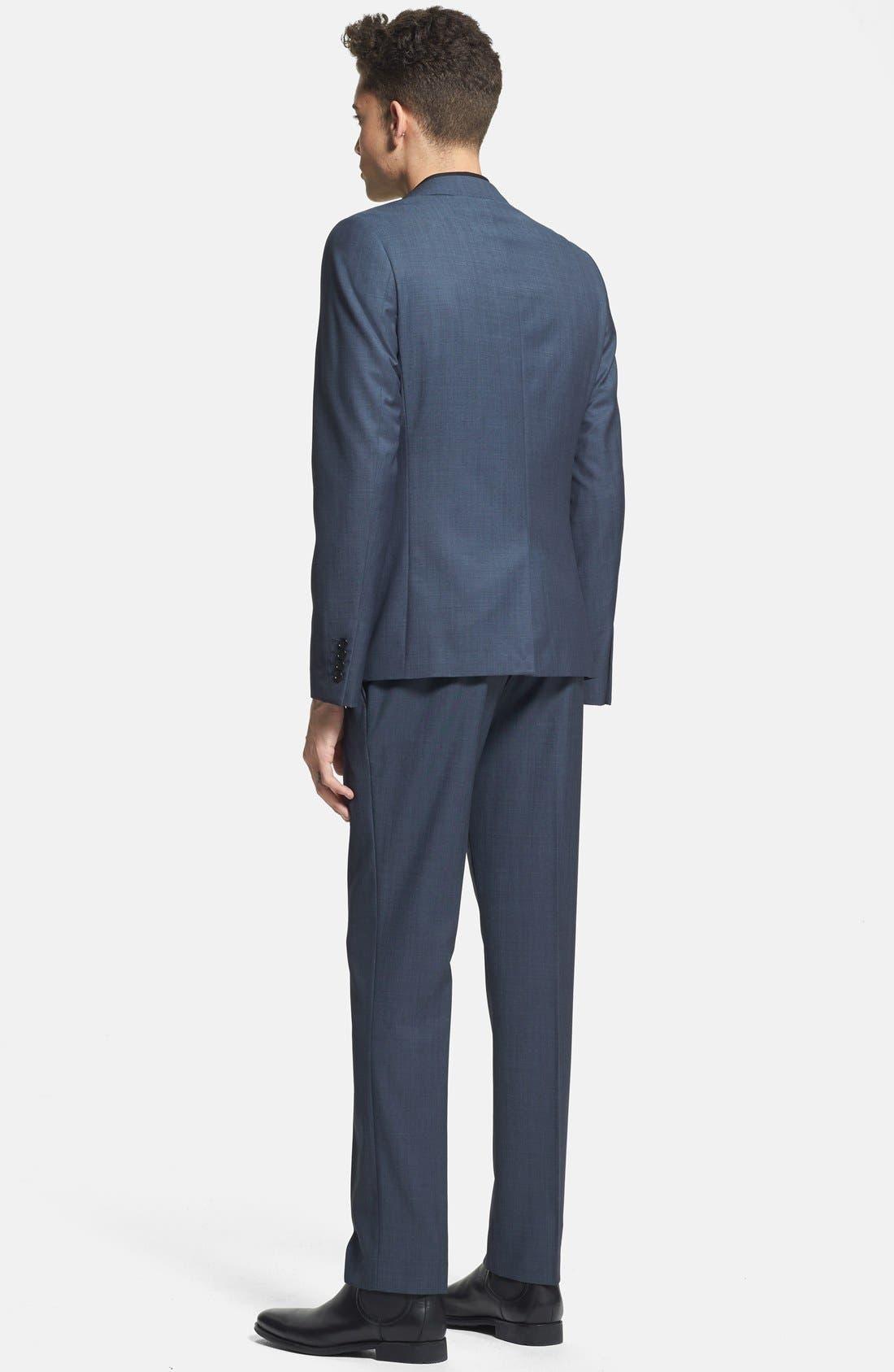 Alternate Image 5  - Topman Skinny Fit Navy Suit Trousers