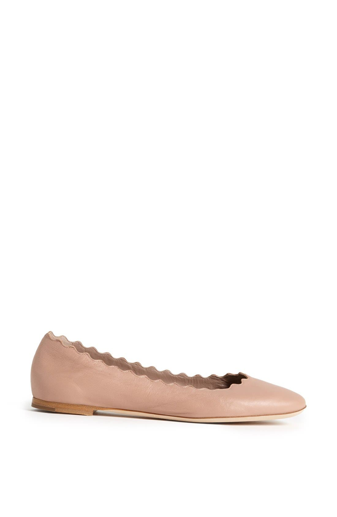 'Lauren' Scalloped Ballet Flat,                             Alternate thumbnail 4, color,                             Taupe