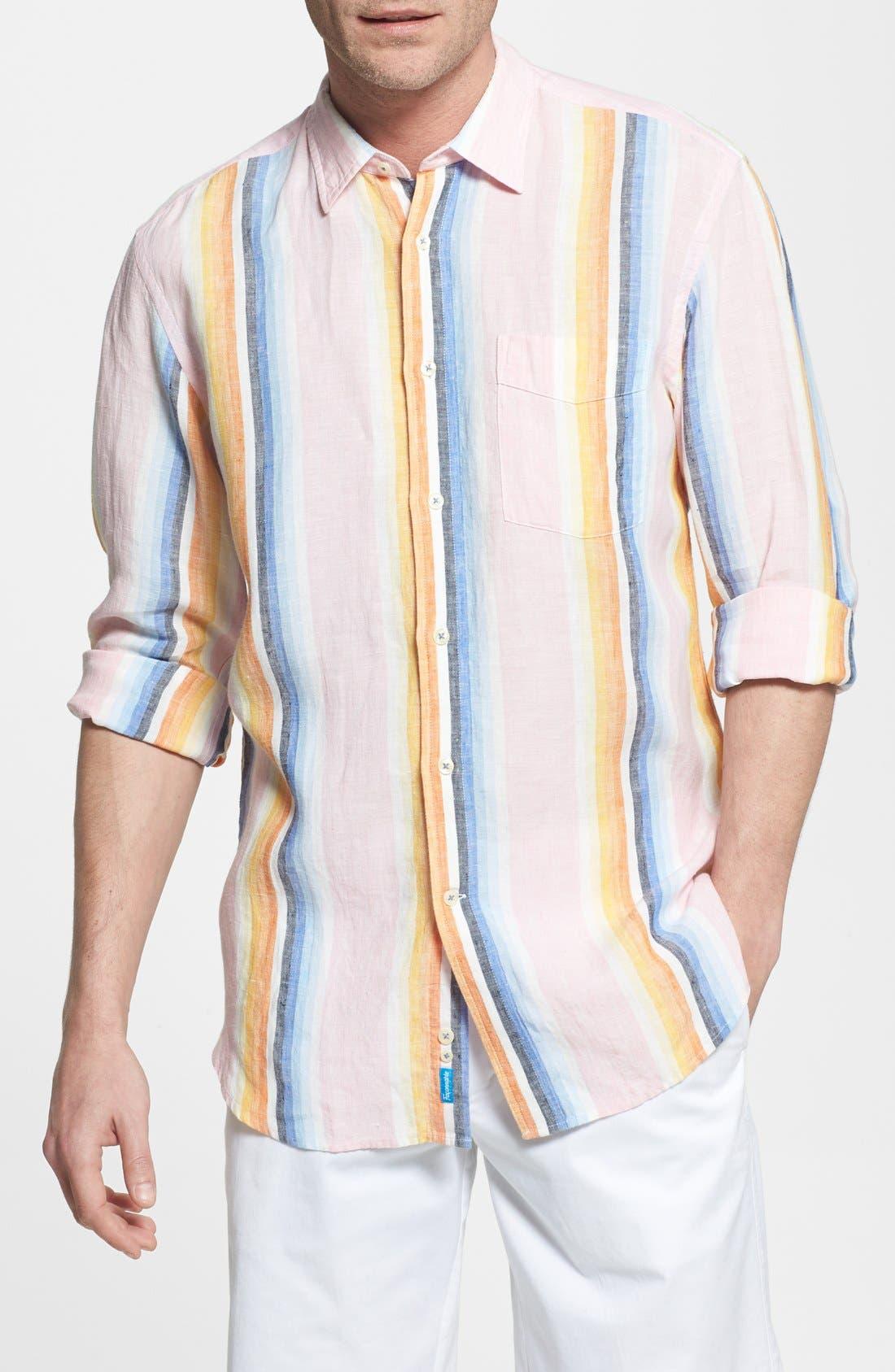 Main Image - Façonnable 'Azur' Club Fit Stripe Linen Sport Shirt