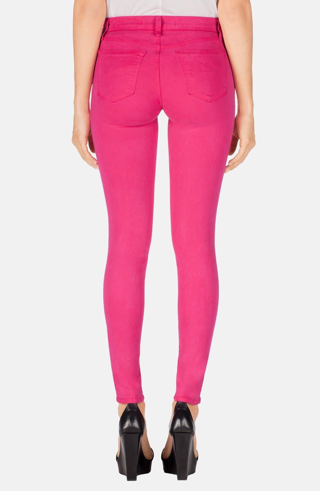 Alternate Image 2  - J Brand '485' Mid Rise Super Skinny Jeans (Wildflower)