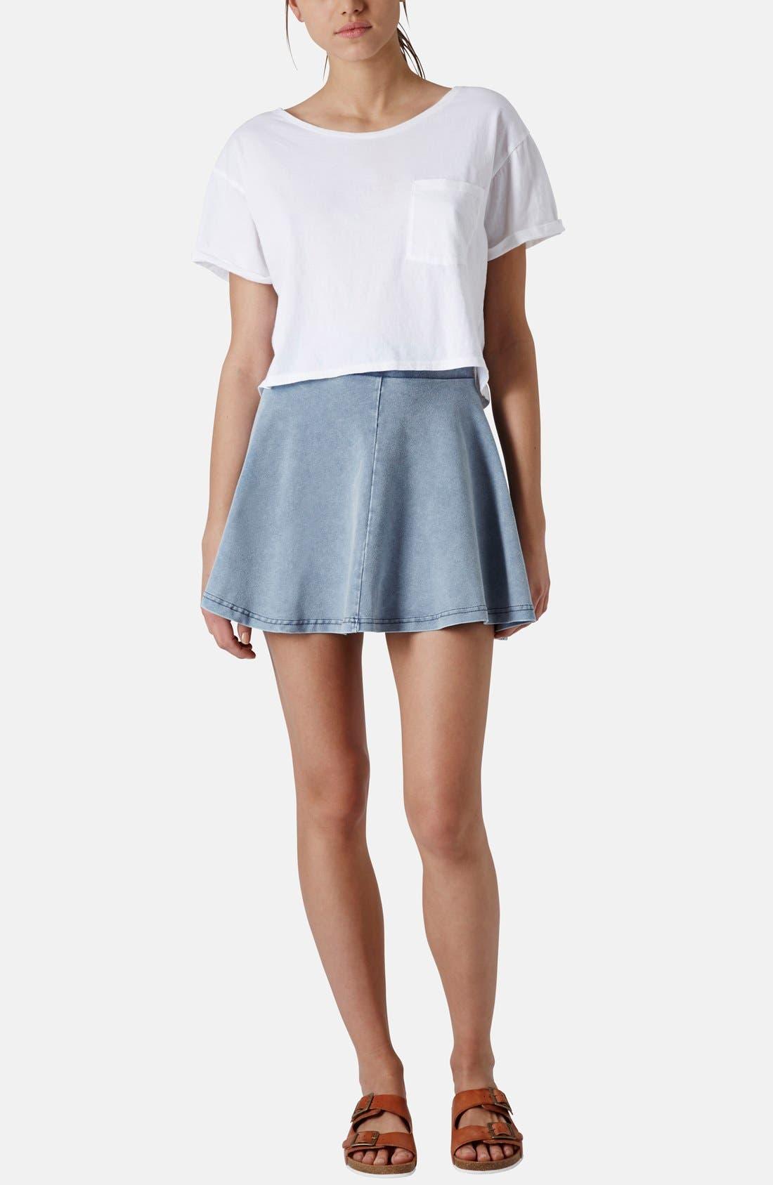 Alternate Image 5  - Topshop 'Andie' Denim Skater Skirt (Petite)