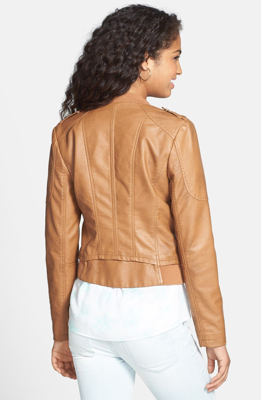 Alternate Image 2  - Collection B Faux Leather Moto Jacket (Juniors)