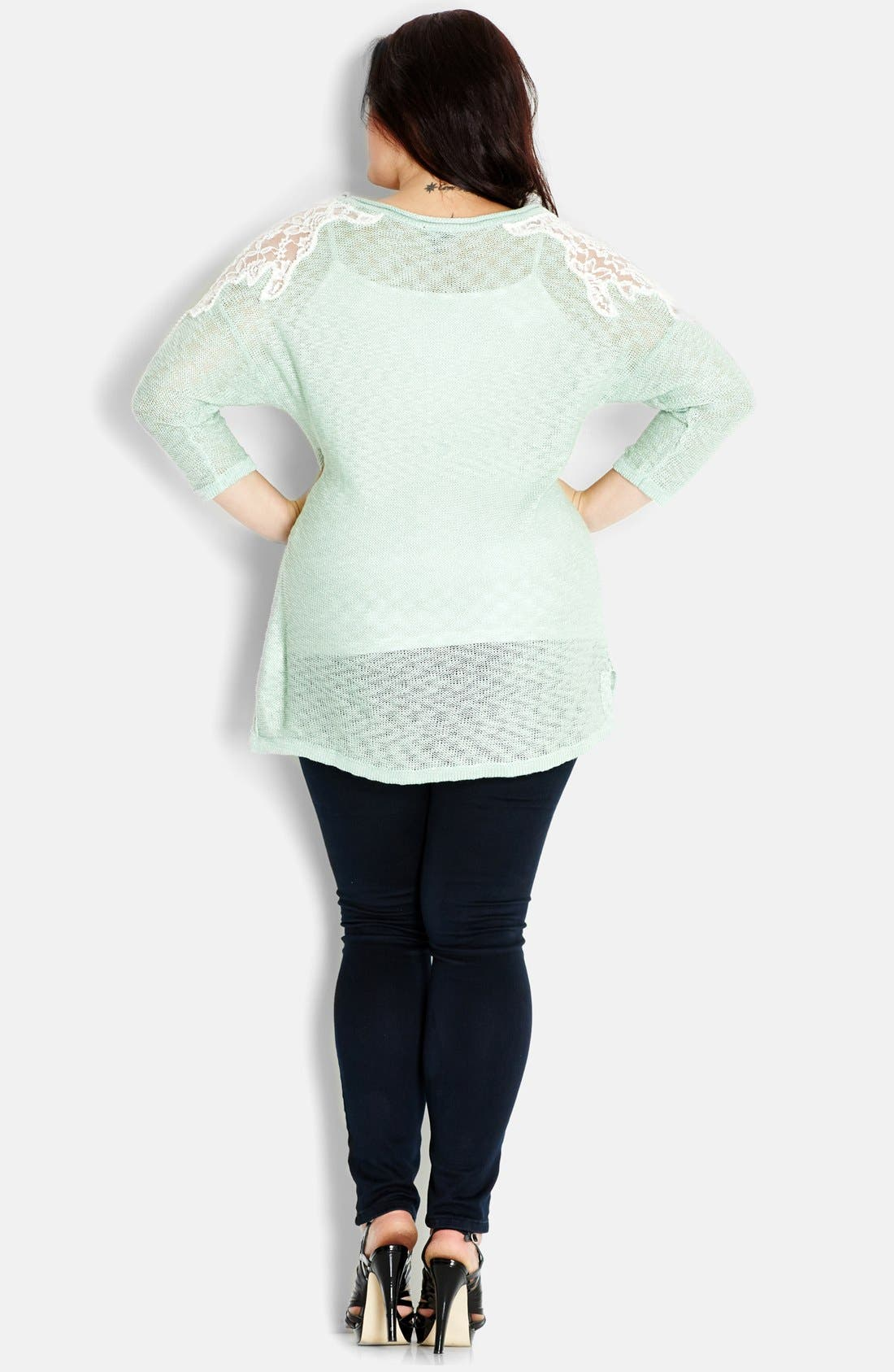 Alternate Image 2  - City Chic 'Precious Pearl' Lace Inset Sweater (Plus Size)