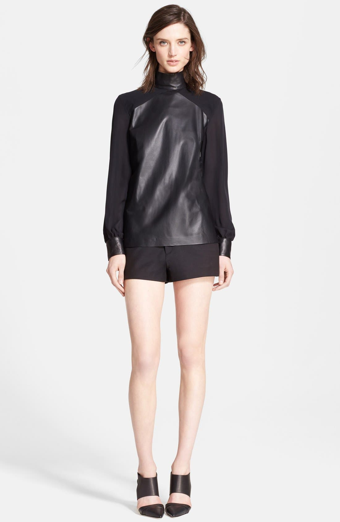 Alternate Image 3  - Tamara Mellon Leather & Silk Georgette Blouse