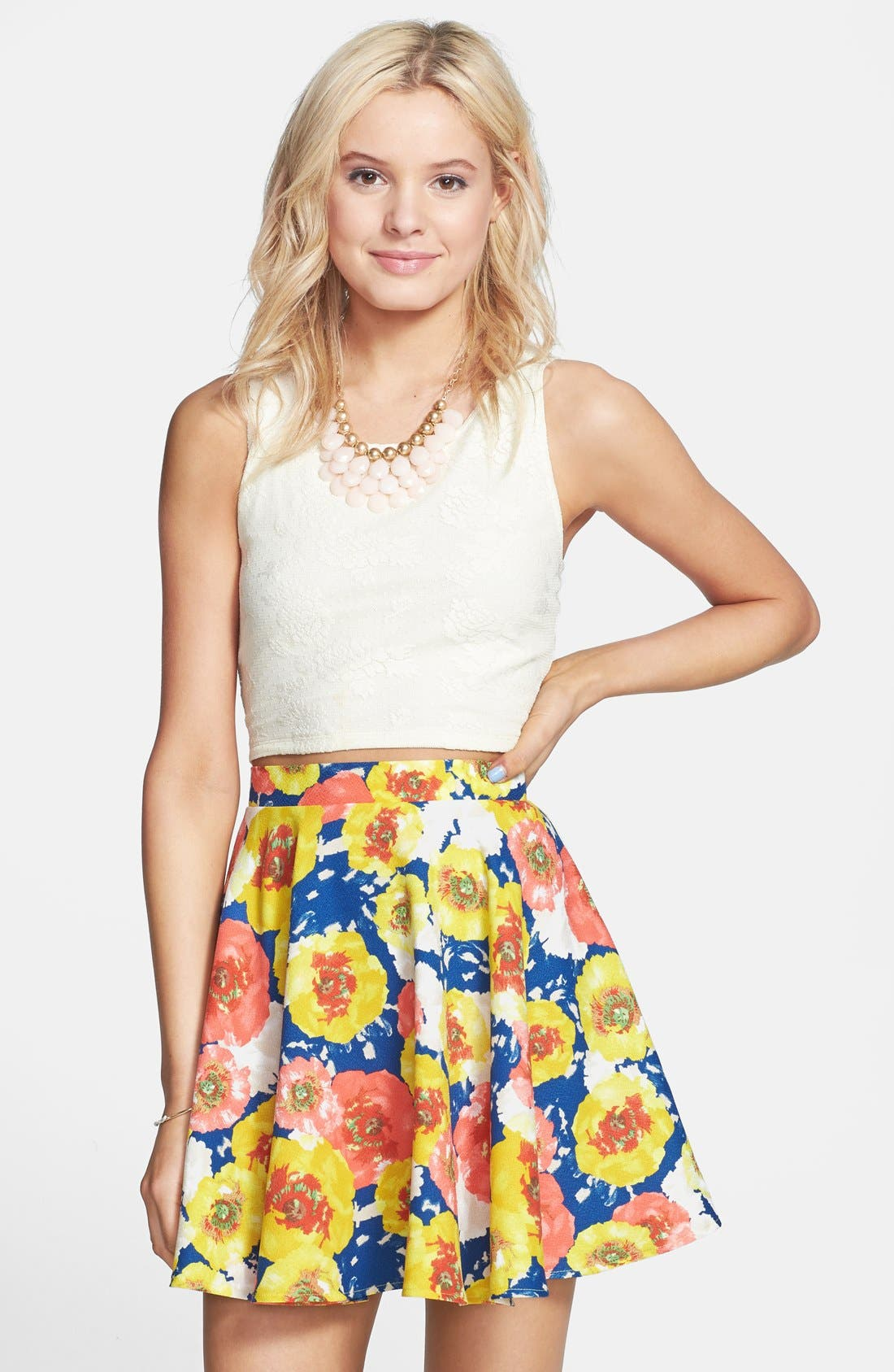 Alternate Image 1 Selected - Everly Floral Print Skater Skirt (Juniors)